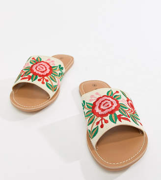 London Rebel Wide Fit Embroidered Slides