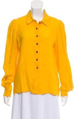 Oscar de la Renta Linen Button-Up Top