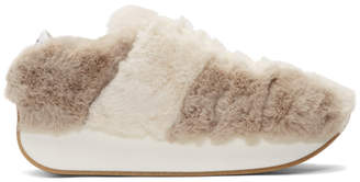 Off-White Marni Dance Bunny and Grey Faux-Fur Bigfoot Sneakers