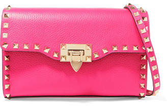 Valentino Garavani The Rockstud Textured-leather Shoulder Bag - Fuchsia