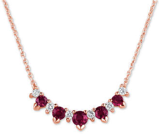 """Macy's Ruby (3/4 ct. t.w.) & Diamond (1/5 ct. t.w.) 17"""" Collar Necklace in 14k Rose Gold"""