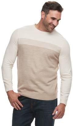 Croft & Barrow Big & Tall Classic-Fit Colorblock 12GG Crewneck Sweater