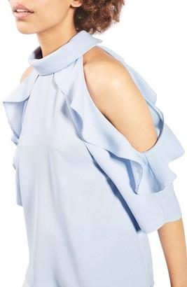 Topshop Ruffle Cold Shoulder Top