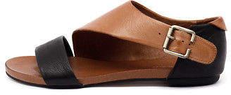 Django & Juliette New Jimini Black Tan Womens Shoes Casual Sandals Sandals Flat