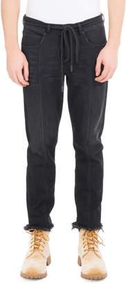Off-White Off White Checker Denim Cropped Straight-Leg Jeans