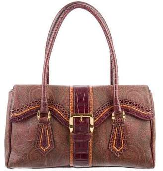 Etro Embossed Leather-Trimmed Flap Bag