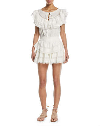 LoveShackFancy Liv Tiered Ruffle Cotton Coverup Dress