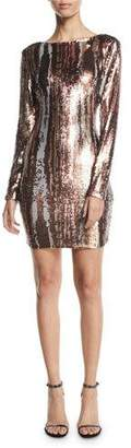 Dress the Population Lola Long-Sleeve Sequin Brushstroke Dress