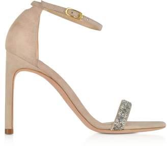 d294bca75e1 Stuart Weitzman Nudistsong Suede and Crystals High Heel Sandals