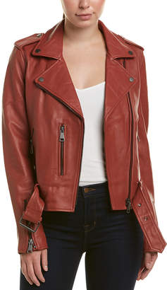 Bagatelle Belted Leather Biker Jacket
