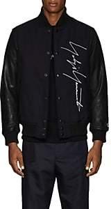 Yohji Yamamoto Men's Logo-Embroidered Leather & Wool Bomber Jacket-Navy