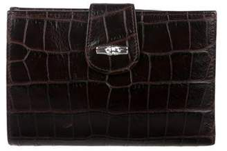 Longchamp Embossed Roseau Compact Wallet