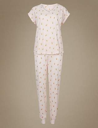 Marks and Spencer Pure Cotton Pineapple Print Pyjama Set