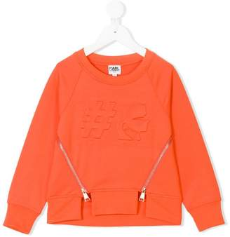 Karl Lagerfeld embossed hashtag sweatshirt