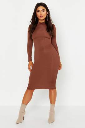 boohoo High Neck Long Sleeve Ribbed Midi Dress