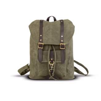 EAZO - Waxed Canvas & Leather Straps Backpack In Brown