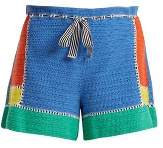 Diane von Furstenberg Paperbag Waist Crochet Knit Shorts - Womens - Multi Stripe