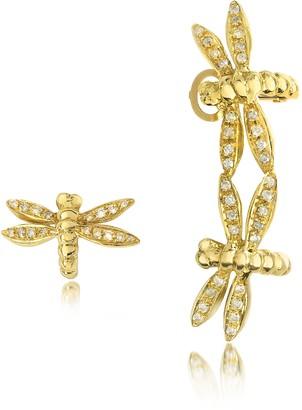 Bernard Delettrez Dragonflies 18K Gold Earrings w/Diamonds