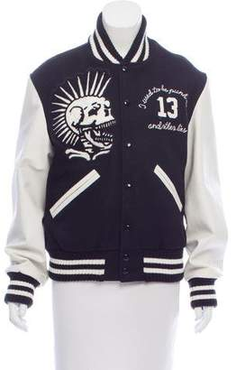 R 13 Leather-Paneled Letterman Jacket