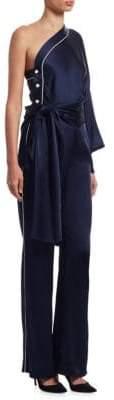 Jonathan Simkhai One-Shoulder Satin Jumpsuit