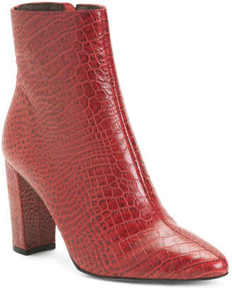 Made In Brazil Croco Embossed Booties