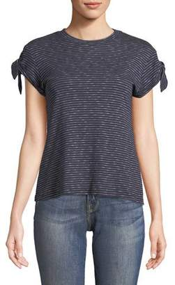 Derek Lam 10 Crosby Striped Knot-Sleeve Tee