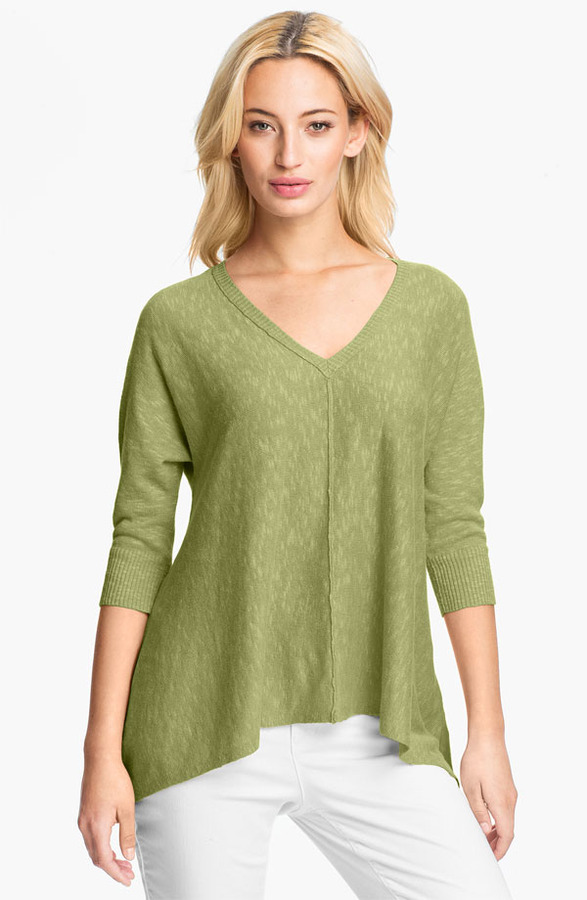Eileen Fisher Linen & Cotton V-Neck Top