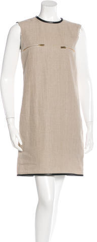 CelineCéline Leather-Trimmed Linen Dress