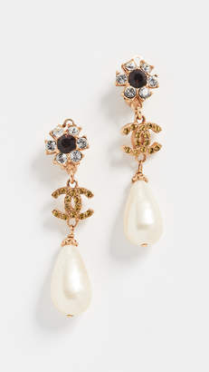 Chanel What Goes Around Comes Around Crystal Floral Drop Earrings