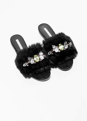 Gemstone Faux Fur Slippers