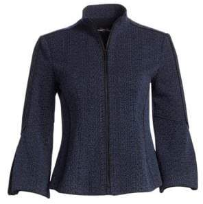 Nanette Lepore Women's Kingpin Italian Knit Jacket - Denim - Size 6