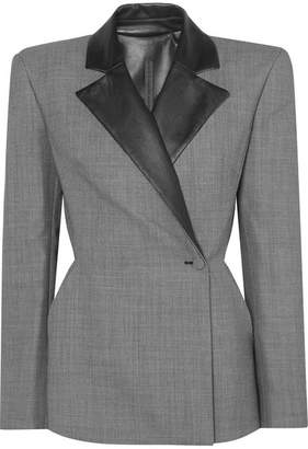 Gareth Pugh Leather-trimmed Jacquard Blazer - Gray