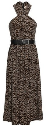 MICHAEL Michael Kors Animal-print Stretch-jersey Halterneck Midi Dress