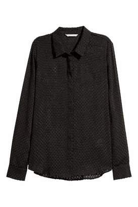 H&M Long-sleeved Blouse - Black - Women