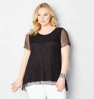 Avenue Dot Mesh Hi Lo Tunic