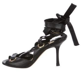 Jimmy Choo Leather Wrap-Tie Sandals
