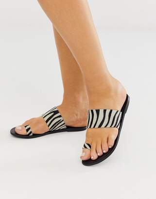 Asos Design DESIGN Faro leather toe loop flat sandals in zebra
