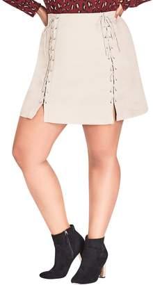 City Chic Lace-Up Faux Suede Miniskirt