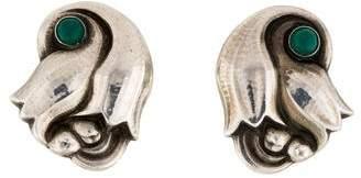 Georg Jensen Dyed Agate 100A Tulip Earrings