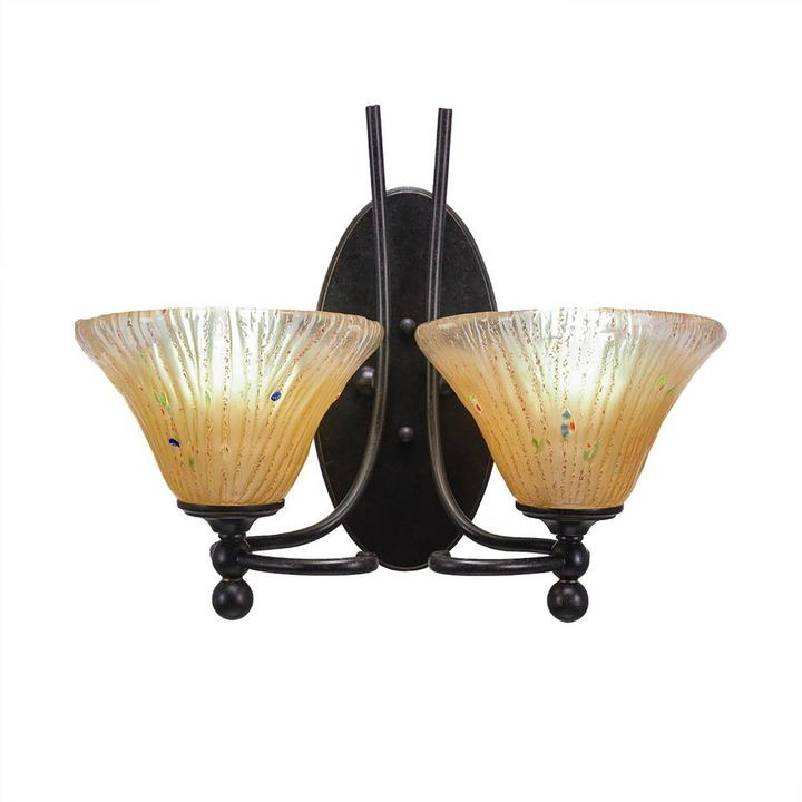 Cambridge Silversmiths Cambridge 2-Light Dark Granite Sconce with Amber Ribbed Glass