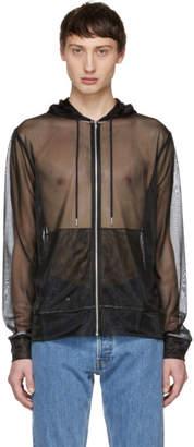 Helmut Lang Black Transparent Zip-Up Hoodie