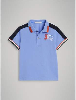 Burberry Childrens Stripe Detail Cotton Polo Shirt