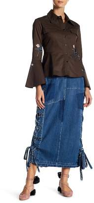 TOV Distressed Denim Patch Lace-Up Pencil Skirt