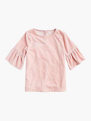 J.Crew crewcuts by Girls' Stretch Velvet Ruffle Top