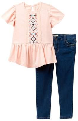 Jessica Simpson 2-Piece Top & Denim Set (Toddler & Little Girls)