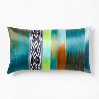 west elm Blurred Ikat Stripe Silk Pillow Cover - Blue Teal