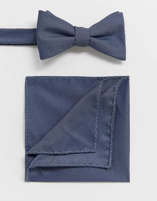 ea241e1f6a90 Selected wedding bow tie and pocket square set in blue texture
