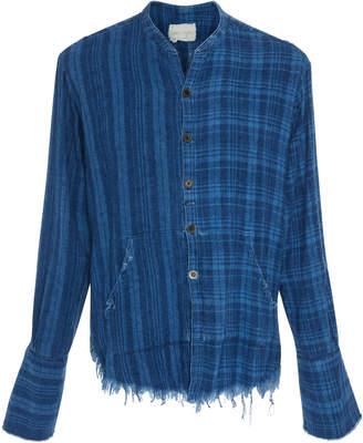 Greg Lauren Frayed Plaid Shirt