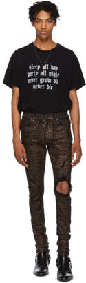 Amiri Black and Brown Foil Broken Jeans