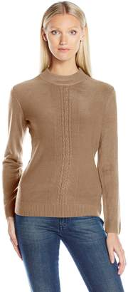 Sag Harbor Women's Mock Neck Cashmerlon Sweater with Cable Front Detail
